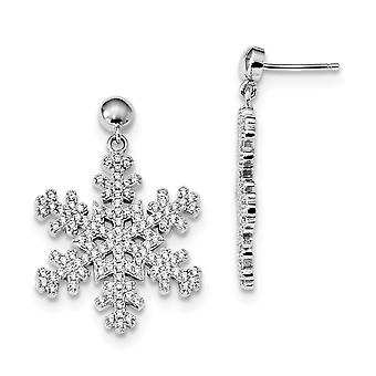925 Sterling Silver Pave Rhodium-plated and Cubic Zirconia Brilliant Embers Snowflake Dangle Post Earrings