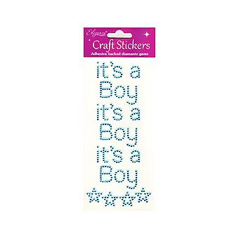 Pack of 3 It's A Boy Blue Jewel Letter Stickers for Baby Shower Crafts