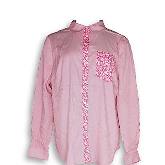 Susan Graver Frauen's Top gestreifte Stretch Baumwolle Poplin lange rosa A285434