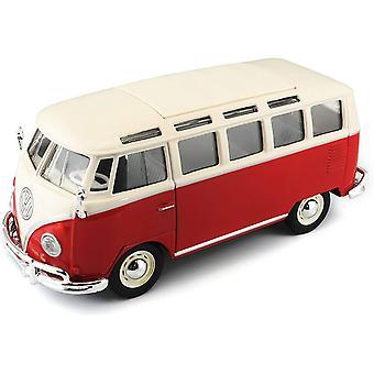 Maisto1:25 Volkswagen Van Samba, Red/White Diecast Model