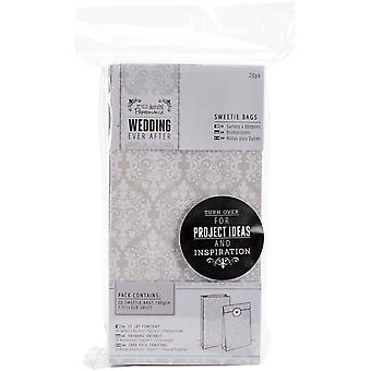 Papermania Ever After Wedding Sweetie Bags W/Seals 20/Pkg-White Damask Screen Print PM158301