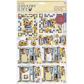 Papermania land leven A4 Decoupage Pack-Country Garden, linnen afwerking PM169139