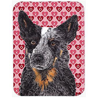 Australian Cattle Dog Hearts Love and Valentine's Day Glass Cutting Board Large