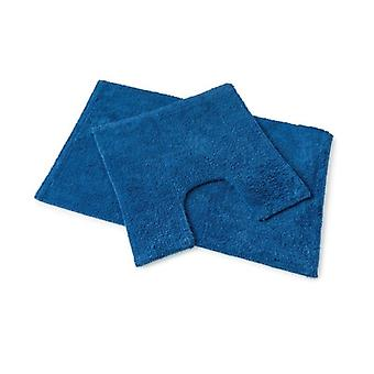 Premier Royal Blue 100% Cotton Bath and Pedestal Mat Set