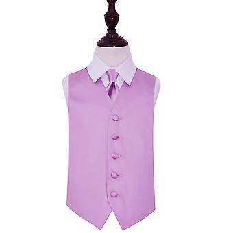 Boy's Lilac Plain Satin Wedding Waistcoat & Tie Set