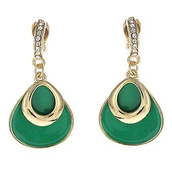 Clip On Earrings Store Green Enamel & Gold Tear Drop Clip On Earrings