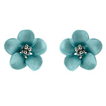 Petite argent et Matt Blue Sky fleur de marguerite Boucles d'oreilles