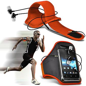 ( Orange + Earphones) BLACKVIEW BREEZE case High Quality Fitted Sports Armbands Cover By i-Tronixs