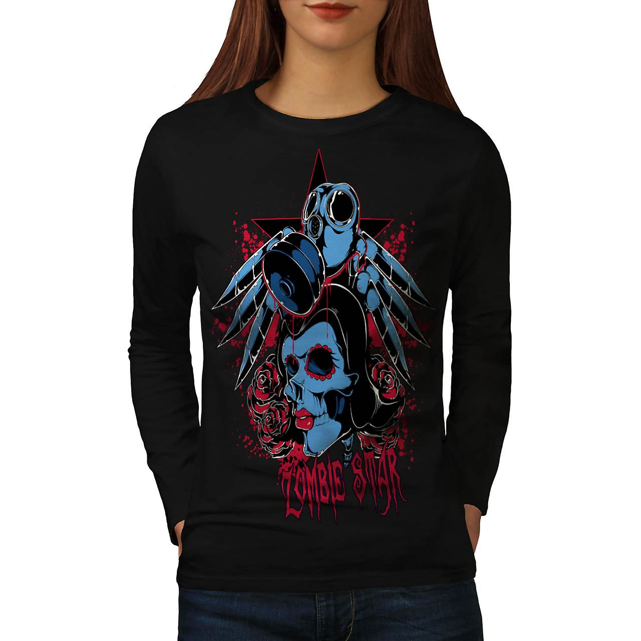 Evil Zombie Star Rise Nightmare Women Black Long Sleeve T-shirt | Wellcoda