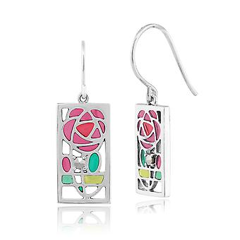 Gemondo zilveren Marcasiet Rennie Mackintosh Rose stijl Drop Oorbellen