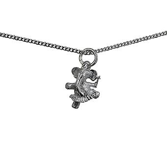 Silver 13x11mm Ballerina Elephant Pendant with a curb Chain 24 inches