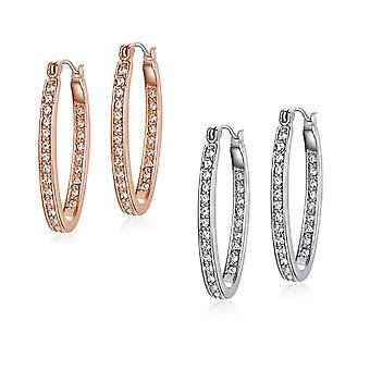 2 Pairs (Gold and Silver) Of 18K Gold Plated Inside Out Hoop Earrings