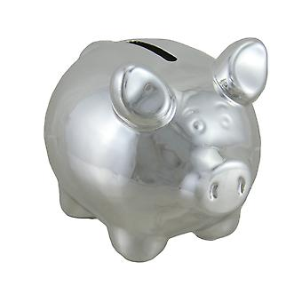 Portly Pig Metallic Chrome Finish Mini Ceramic Coin Bank 4 Inch