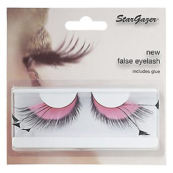 Stargazer Pink & Black False Feather Eyelashes With Glue - 53