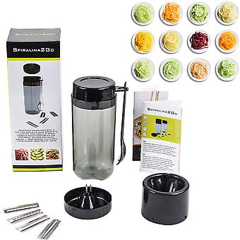 Spiralina2Go - Vegetable Spiraliser with 5 Setting Tools to Make Spaghetti / Julienne Tagliatelli & Spiral Staircase for Stir-fries Salads and Pasta Dishes + Manual and FREE Recipe Ideas Booklet.