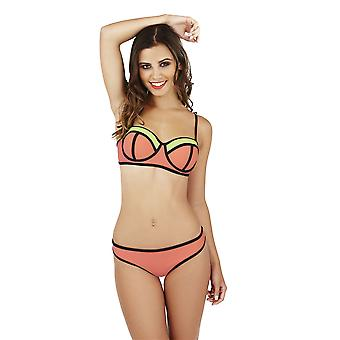 Boutique Ladies Strappy Neon Print Bikini Set