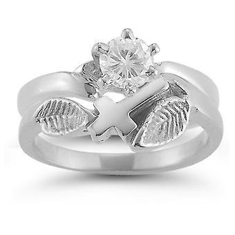 Christian Cross Diamond Bridal Wedding Ring Set in 14K White Gold