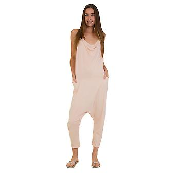 Jersey Jumpsuit - Pale Pink Drop Crotch Lightweight Stretch Relaxed Fit Playsuit