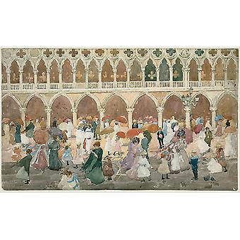 Maurice Prendergast - Sunlight on the Piazzetta Poster Print Giclee