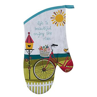 Enjoy the Ride Bicycle Retro Look Cotton Kitchen Oven Mitt 13 Inches