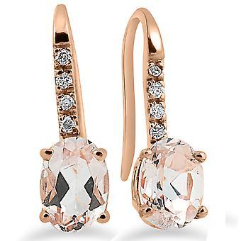 Morganita genuino 1 1 / 5ct y diamante Drop aretes 14K oro 3/4