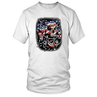 Stars And Stripes Skull Razor Wire - Biker Motorcycle Kids T Shirt