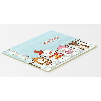 Merry Christmas Carolers Bull Terrier Brindle Kitchen or Bath Mat 20x30