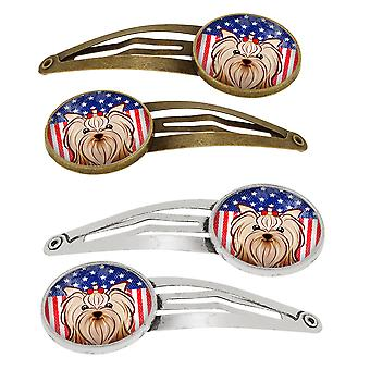 American Flag and Yorkie Yorkishire Terrier Set of 4 Barrettes Hair Clips