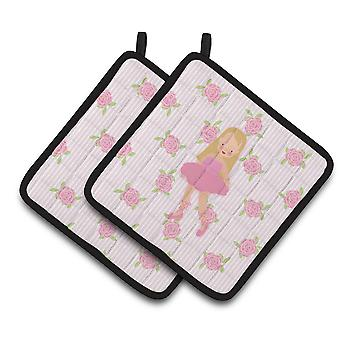 Carolines Treasures  BB5185PTHD Ballerina Long Haired Blonde Pair of Pot Holders