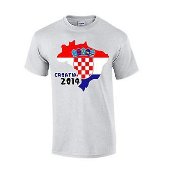 Kroatia 2014 land flagg T-shirt (grå)