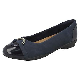 Ladies Clarks Ballerina Flat With Ring Detail Neenah Vine - Navy Combi - UK Size 6E - EU Size 39.5 - US Size 8.5W