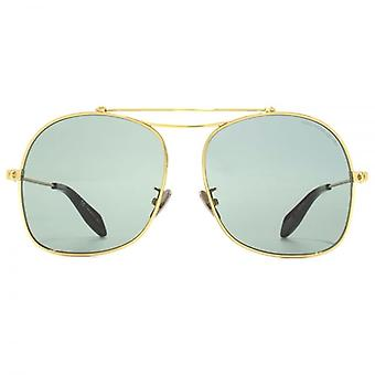 Alexander McQueen Edge Square Pilot Sunglasses In Gold Green