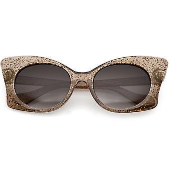Gennemskinnelige Oversize Glitter sommerfugl solbriller runde linse 54mm
