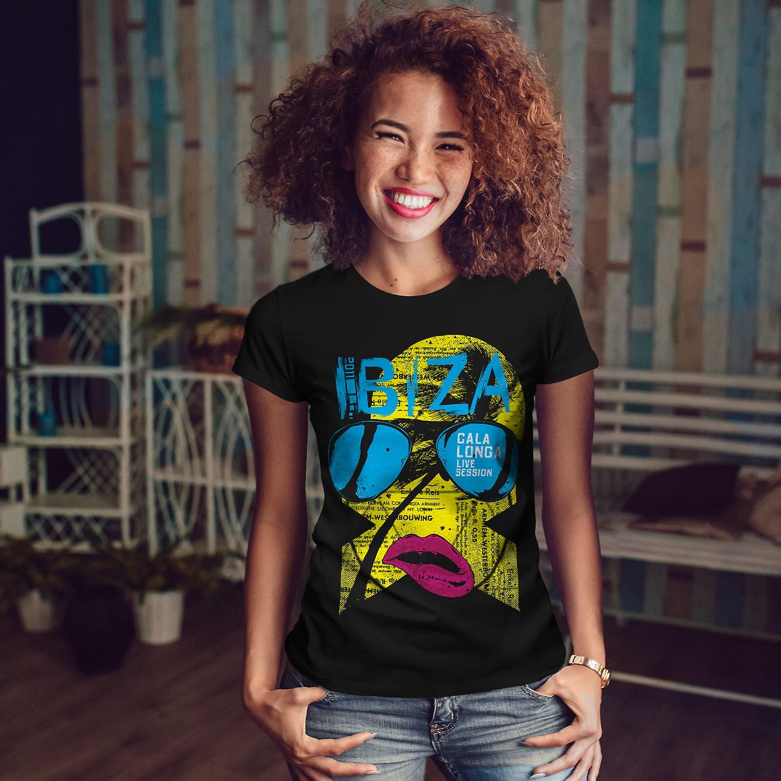 Ibiza Gala Longa Holiday kvinnor svart T-shirt | Wellcoda
