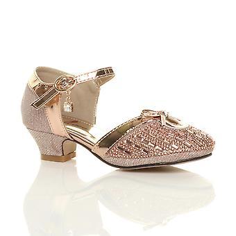 Ajvani girls low heel diamante bow buckle strap court shoes sandals