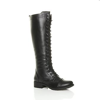 Ajvani womens low block heel lace up zip knee high calf biker army military boots