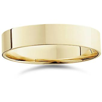 5mm Flat High Polished Wedding Band 10K Yellow Gold