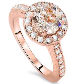 2 قيراط خمر مورغانيتي آند الماس خاتم 14 ك روز الذهب