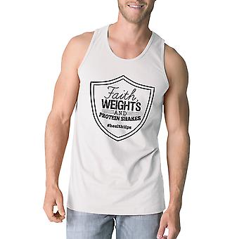 Faith Weights Mens White Funny Workout Tank Top Humorous Gift Tanks