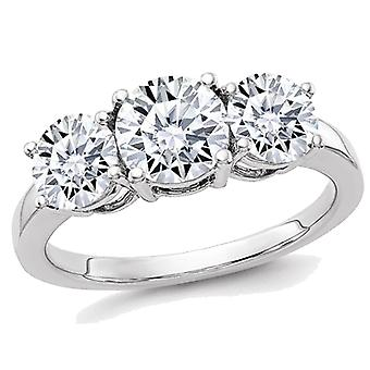 14K White Gold Round Cut Synthetic Moissanite Three Stone Anniversary Engagement Ring 2.10 Carat (2.20 Ct. Look)