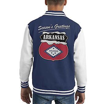 Seasons Greetings Arkansas State Flag Christmas Kid's Varsity Jacket