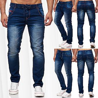 Men's Jogg Jeans Denim Pants Straight Cut Seams Elastic Waistband Stone Washed