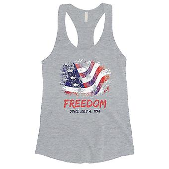 Freedom Since July 4th Shirt Cute Womens Grey Workout Gym Tank Top
