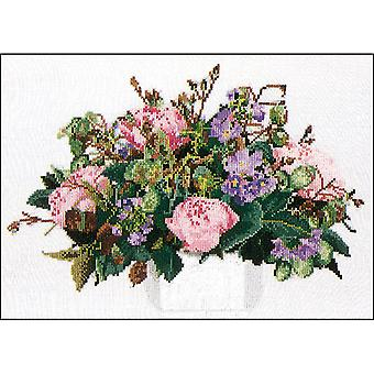 Peonies On Aida Counted Cross Stitch Kit-11.75