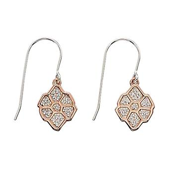 Elements Silver Pave Wing Pattern Front Back Drop Earrings - Silver/Rose Gold/Clear
