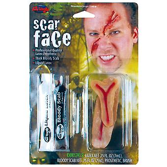 Halloween Scar Face Kit With Latex Prosthetic, Bloody Scab, Liquid Latex