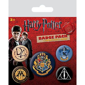 Harry Potter 5 Round Pin Badges In Pack