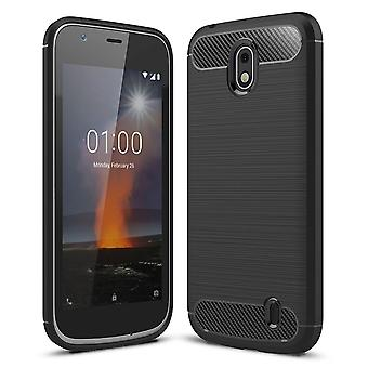 Nokia 1 TPU case carbon fiber optics brushed protective case black