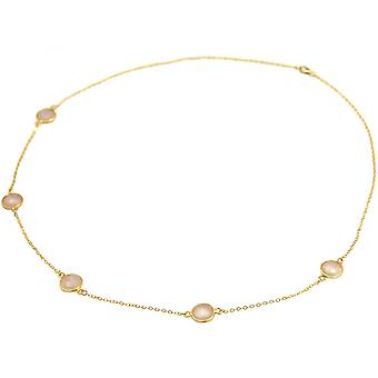 Ladies - necklace - 925 sterling silver - gold plated - Rose Quartz - 60 cm