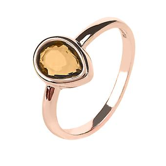 Latelita Ring Gold Gemstone Pink Brown Quartz Stacking Midi Jewellery Silver